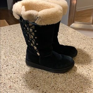 Tall side tie UGG boots in black 8.5